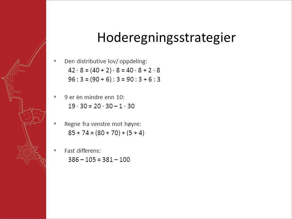 Hoderegningsstrategier  Den distributive lov/ oppdeling: 42  8 = (40 + 2)  8 = 40  8 + 2  8 96 : 3 = (90 + 6) : 3 = 90 : 3 + 6 : 3  9 er èn mind