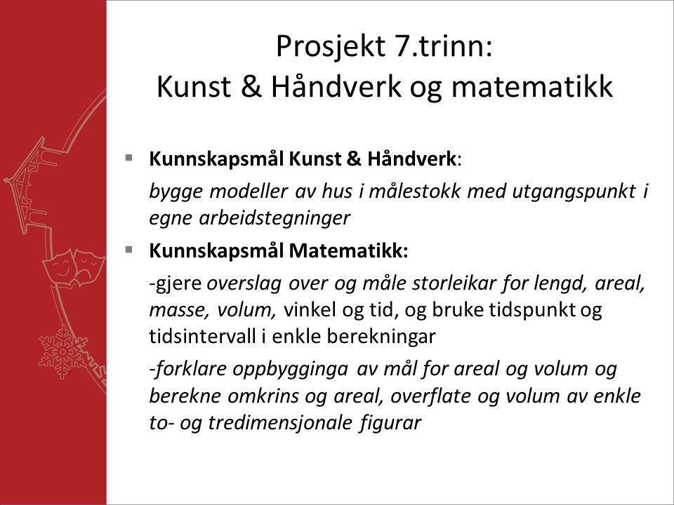 Prosjekt 7.trinn: Kunst & Håndverk og matematikk  Kunnskapsmål Kunst & Håndverk: bygge modeller av hus i målestokk med utgangspunkt i egne arbeidsteg