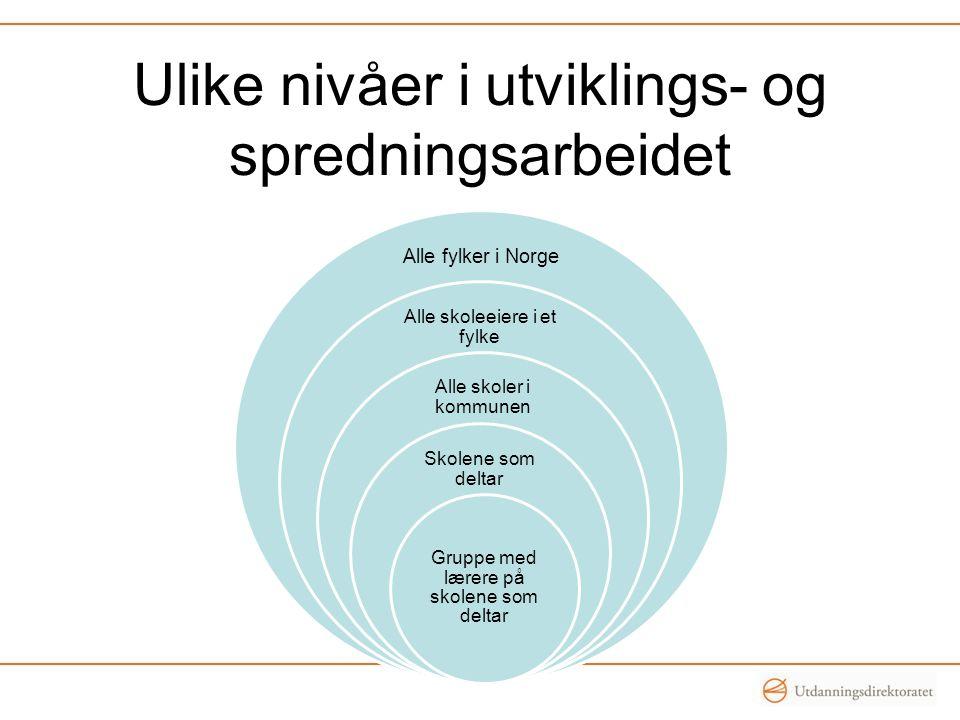 Ulike nivåer i utviklings- og spredningsarbeidet Alle fylker i Norge Alle skoleeiere i et fylke Alle skoler i kommunen Skolene som deltar Gruppe med lærere på skolene som deltar