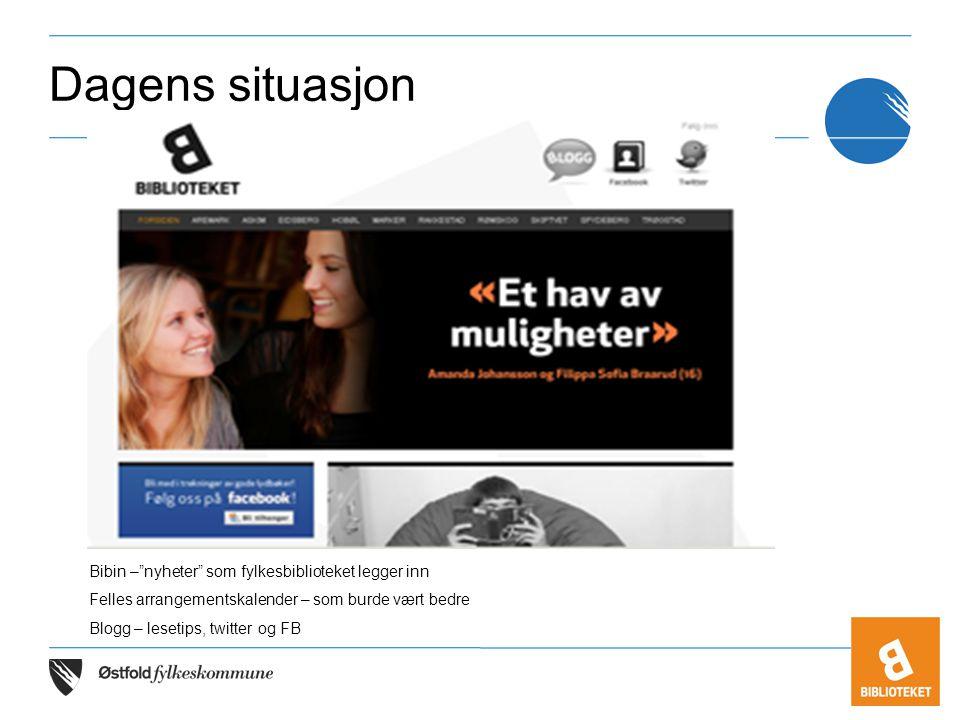 """Dagens situasjon Bibin –""""nyheter"""" som fylkesbiblioteket legger inn Felles arrangementskalender – som burde vært bedre Blogg – lesetips, twitter og FB"""