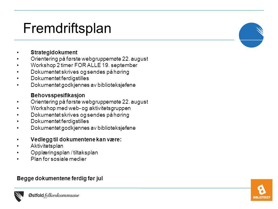 •Strategidokument •Orientering på første webgruppemøte 22. august •Workshop 2 timer FOR ALLE 19. september •Dokumentet skrives og sendes på høring •Do