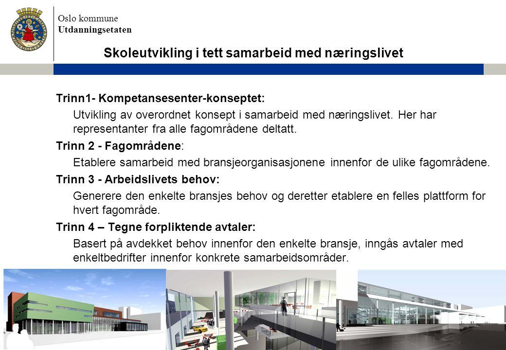 Oslo kommune Utdanningsetaten Trinn1- Kompetansesenter-konseptet: Utvikling av overordnet konsept i samarbeid med næringslivet. Her har representanter