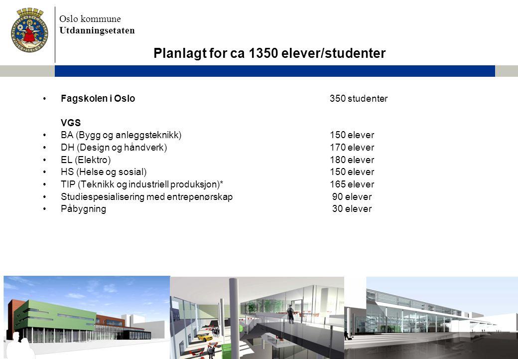 Oslo kommune Utdanningsetaten •Fagskolen i Oslo 350 studenter VGS •BA (Bygg og anleggsteknikk)150 elever •DH (Design og håndverk)170 elever •EL (Elekt