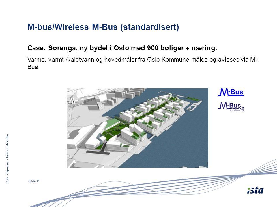 Date ▪ Speaker ▪ Presentation title Slide 11 M-bus/Wireless M-Bus (standardisert) Case: Sørenga, ny bydel i Oslo med 900 boliger + næring. Varme, varm