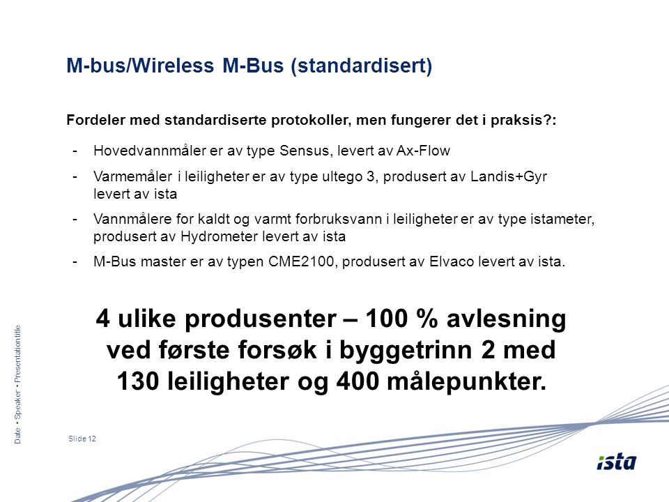 Date ▪ Speaker ▪ Presentation title Slide 12 M-bus/Wireless M-Bus (standardisert) Fordeler med standardiserte protokoller, men fungerer det i praksis?: 4 ulike produsenter – 100 % avlesning ved første forsøk i byggetrinn 2 med 130 leiligheter og 400 målepunkter.