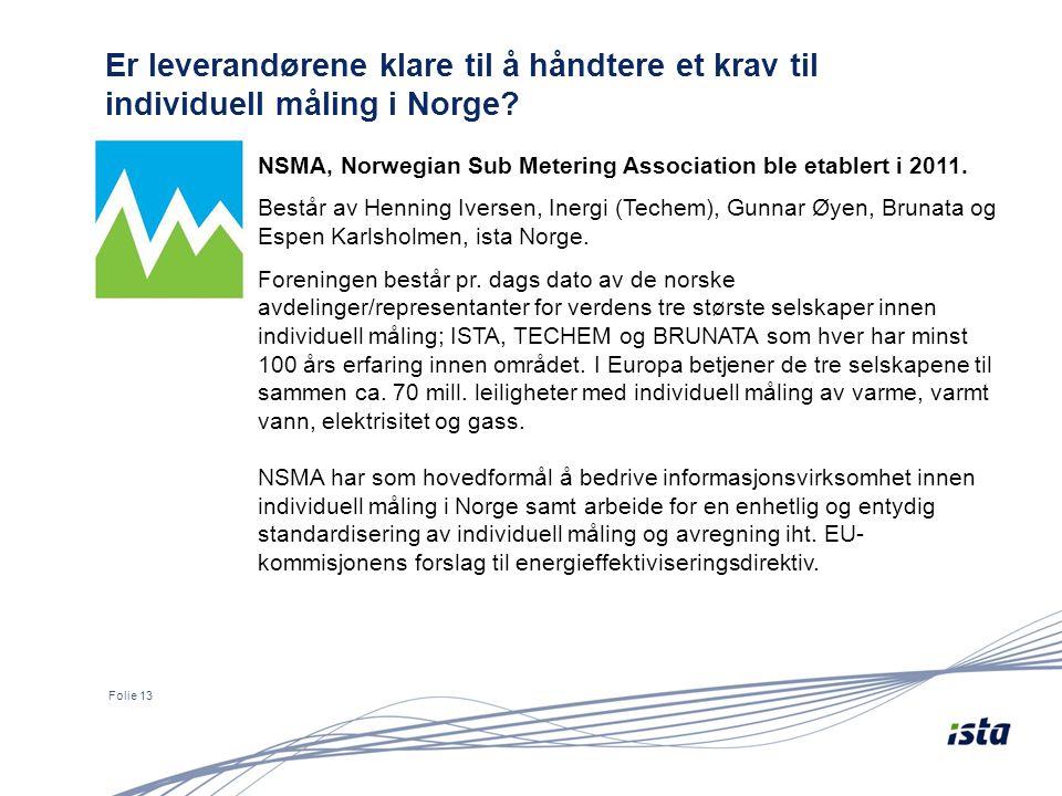 Er leverandørene klare til å håndtere et krav til individuell måling i Norge? Folie 13 NSMA, Norwegian Sub Metering Association ble etablert i 2011. B