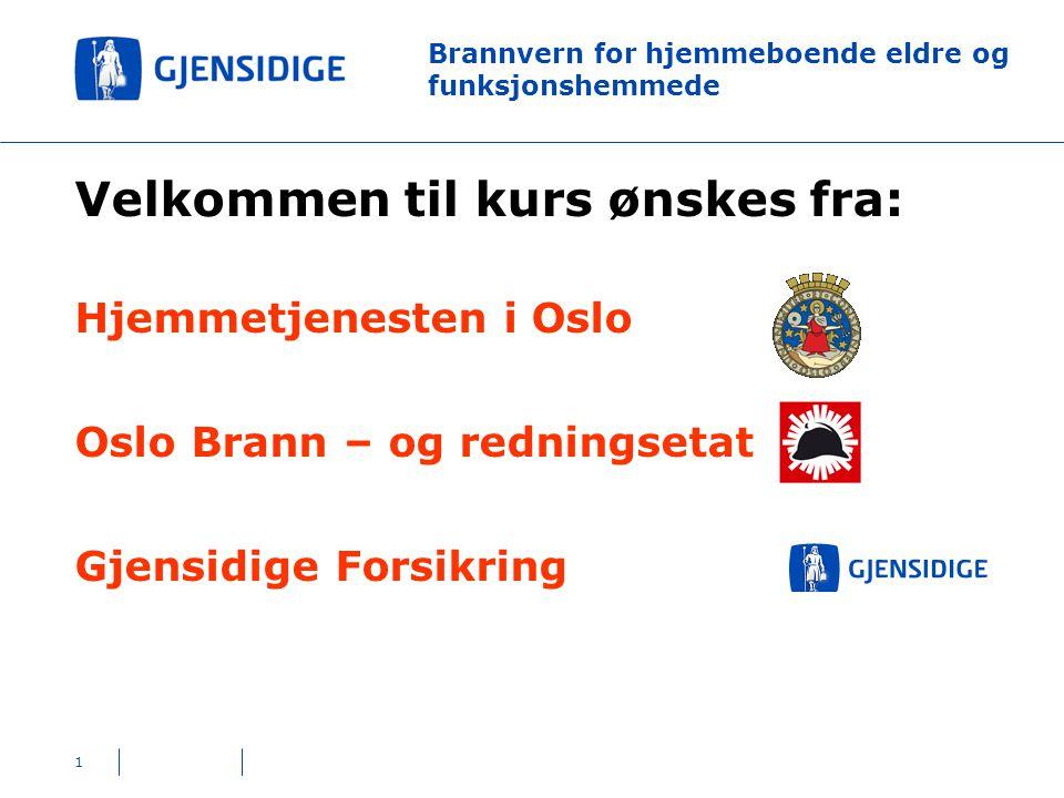 1 Brannvern for hjemmeboende eldre og funksjonshemmede Velkommen til kurs ønskes fra: Hjemmetjenesten i Oslo Oslo Brann – og redningsetat Gjensidige Forsikring