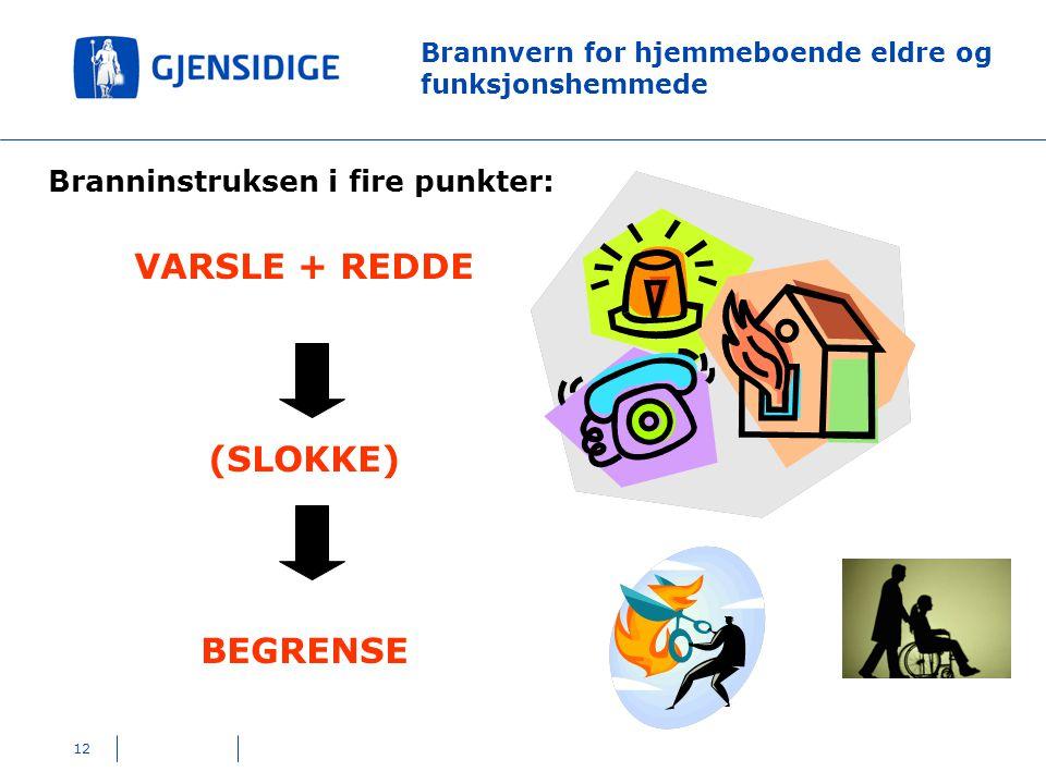 12 Brannvern for hjemmeboende eldre og funksjonshemmede Branninstruksen i fire punkter: VARSLE + REDDE (SLOKKE) BEGRENSE