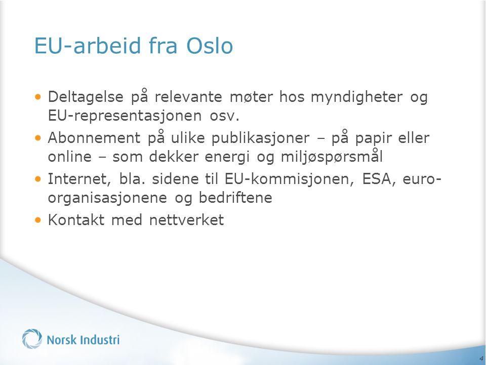4 EU-arbeid fra Oslo • Deltagelse på relevante møter hos myndigheter og EU-representasjonen osv.