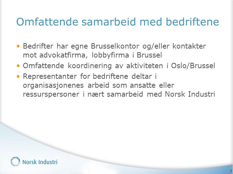 5 Omfattende samarbeid med bedriftene • Bedrifter har egne Brusselkontor og/eller kontakter mot advokatfirma, lobbyfirma i Brussel • Omfattende koordinering av aktiviteten i Oslo/Brussel • Representanter for bedriftene deltar i organisasjonenes arbeid som ansatte eller ressurspersoner i nært samarbeid med Norsk Industri