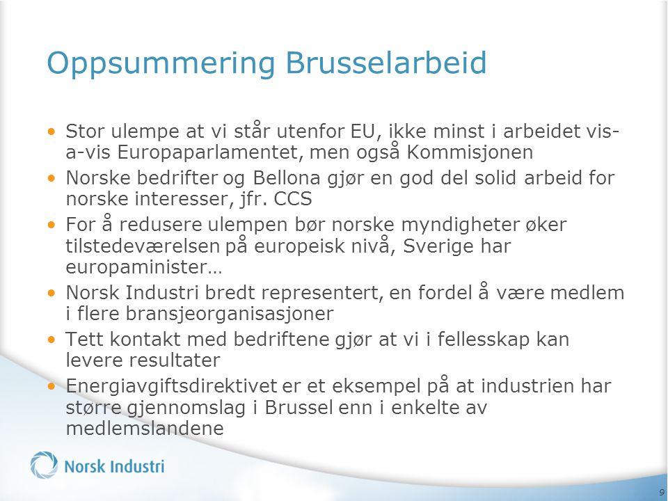 9 Oppsummering Brusselarbeid • Stor ulempe at vi står utenfor EU, ikke minst i arbeidet vis- a-vis Europaparlamentet, men også Kommisjonen • Norske bedrifter og Bellona gjør en god del solid arbeid for norske interesser, jfr.