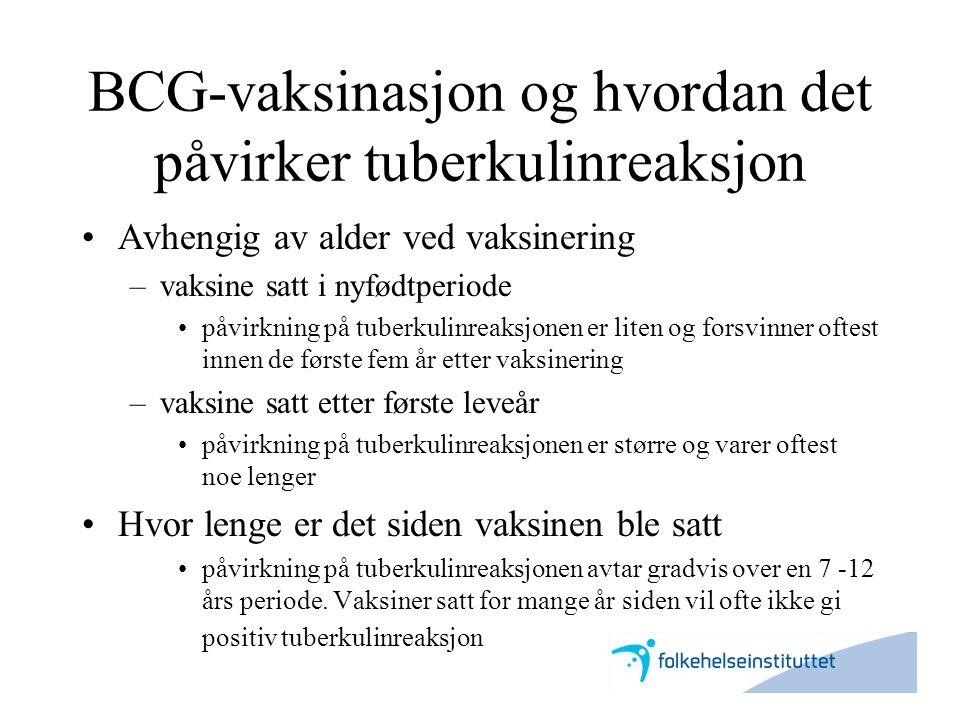 BCG-vaksinasjon og hvordan det påvirker tuberkulinreaksjon •Avhengig av alder ved vaksinering –vaksine satt i nyfødtperiode •påvirkning på tuberkulinr