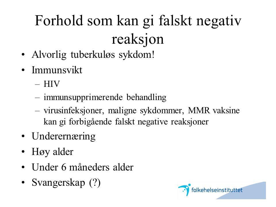 Forhold som kan gi falskt negativ reaksjon •Alvorlig tuberkuløs sykdom! •Immunsvikt –HIV –immunsupprimerende behandling –virusinfeksjoner, maligne syk