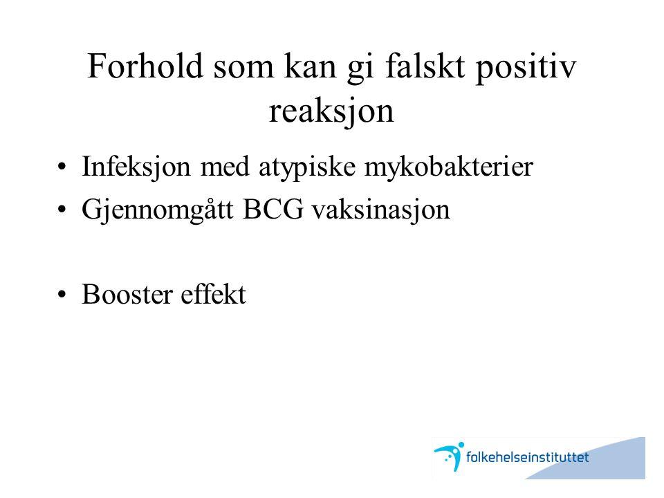 Forhold som kan gi falskt positiv reaksjon •Infeksjon med atypiske mykobakterier •Gjennomgått BCG vaksinasjon •Booster effekt
