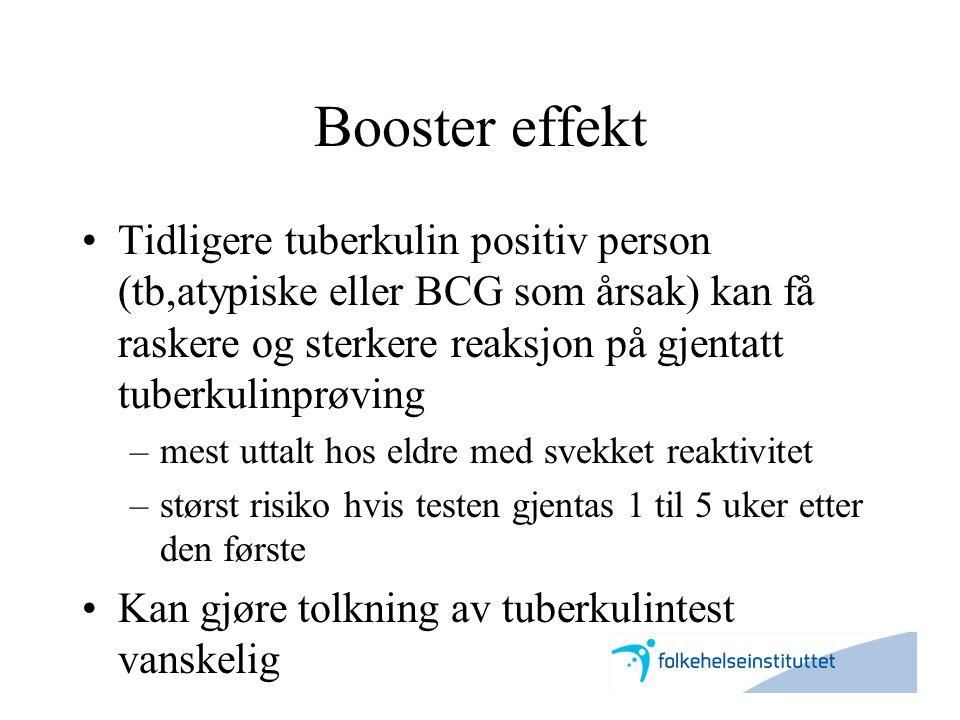 Booster effekt •Tidligere tuberkulin positiv person (tb,atypiske eller BCG som årsak) kan få raskere og sterkere reaksjon på gjentatt tuberkulinprøvin