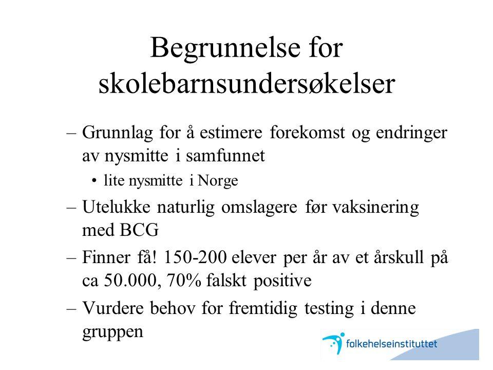 Begrunnelse for skolebarnsundersøkelser –Grunnlag for å estimere forekomst og endringer av nysmitte i samfunnet •lite nysmitte i Norge –Utelukke natur