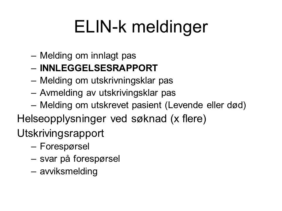 ELIN-k meldinger –Melding om innlagt pas –INNLEGGELSESRAPPORT –Melding om utskrivningsklar pas –Avmelding av utskrivingsklar pas –Melding om utskrevet