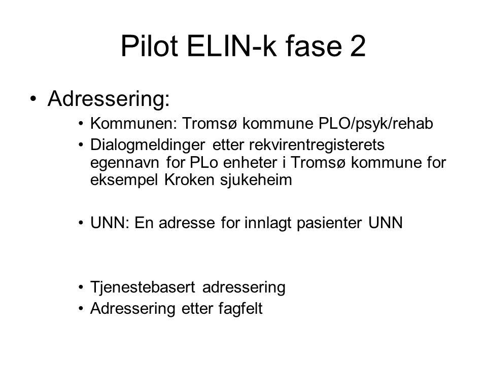 Pilot ELIN-k fase 2 •Adressering: •Kommunen: Tromsø kommune PLO/psyk/rehab •Dialogmeldinger etter rekvirentregisterets egennavn for PLo enheter i Trom