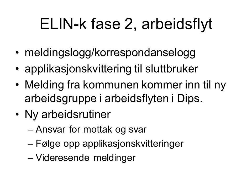 ELIN-k fase 2, arbeidsflyt •meldingslogg/korrespondanselogg •applikasjonskvittering til sluttbruker •Melding fra kommunen kommer inn til ny arbeidsgru