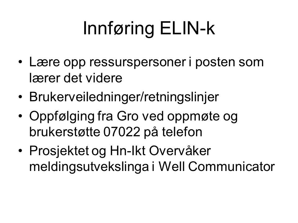 Innføring ELIN-k •Lære opp ressurspersoner i posten som lærer det videre •Brukerveiledninger/retningslinjer •Oppfølging fra Gro ved oppmøte og brukers