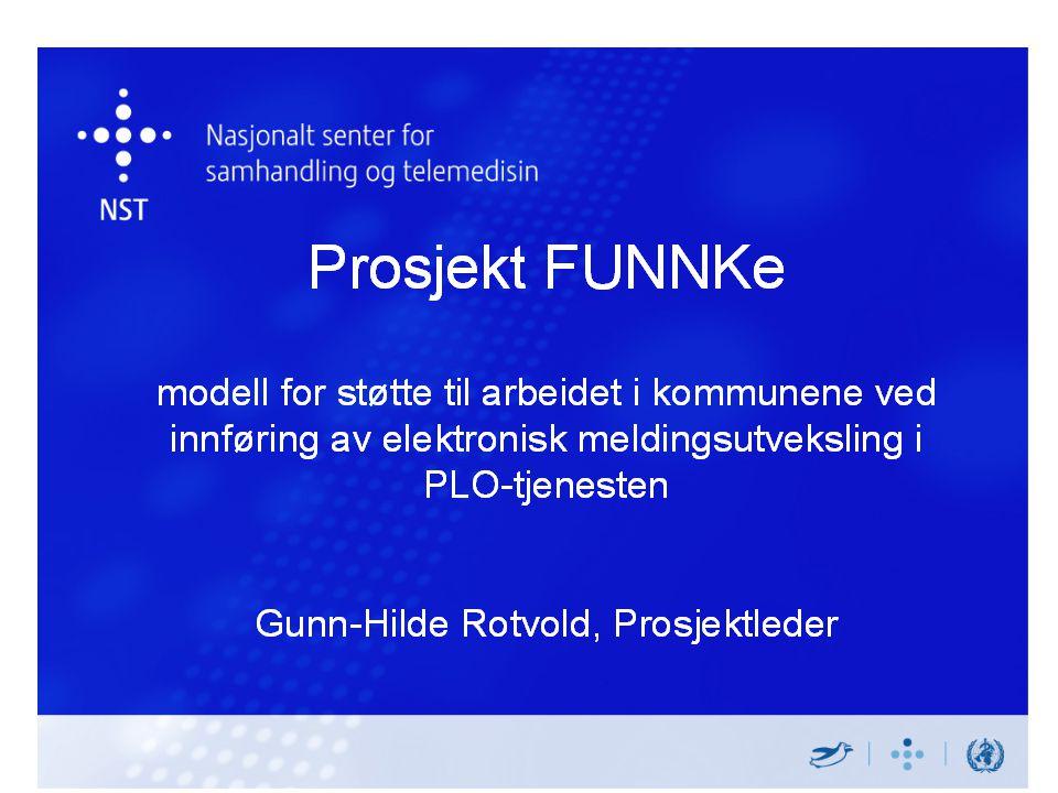 Prosjekt FUNNKe modell for støtte til arbeidet i kommunene ved innføring av elektronisk meldingsutveksling i PLO-tjenesten Gunn-Hilde Rotvold, Prosjek