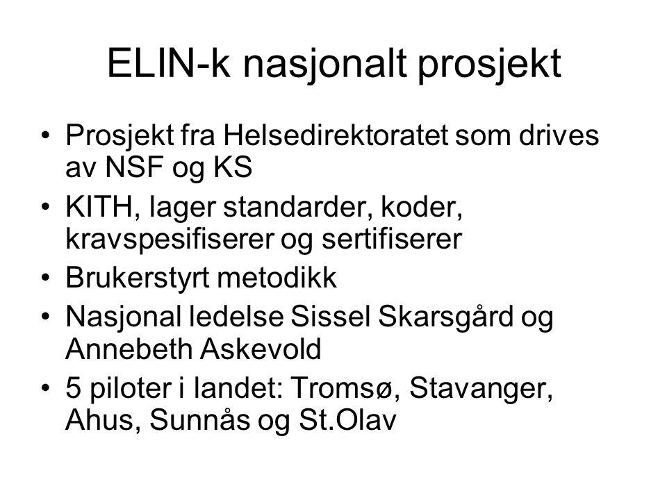 ELIN-k nasjonalt prosjekt •Prosjekt fra Helsedirektoratet som drives av NSF og KS •KITH, lager standarder, koder, kravspesifiserer og sertifiserer •Br