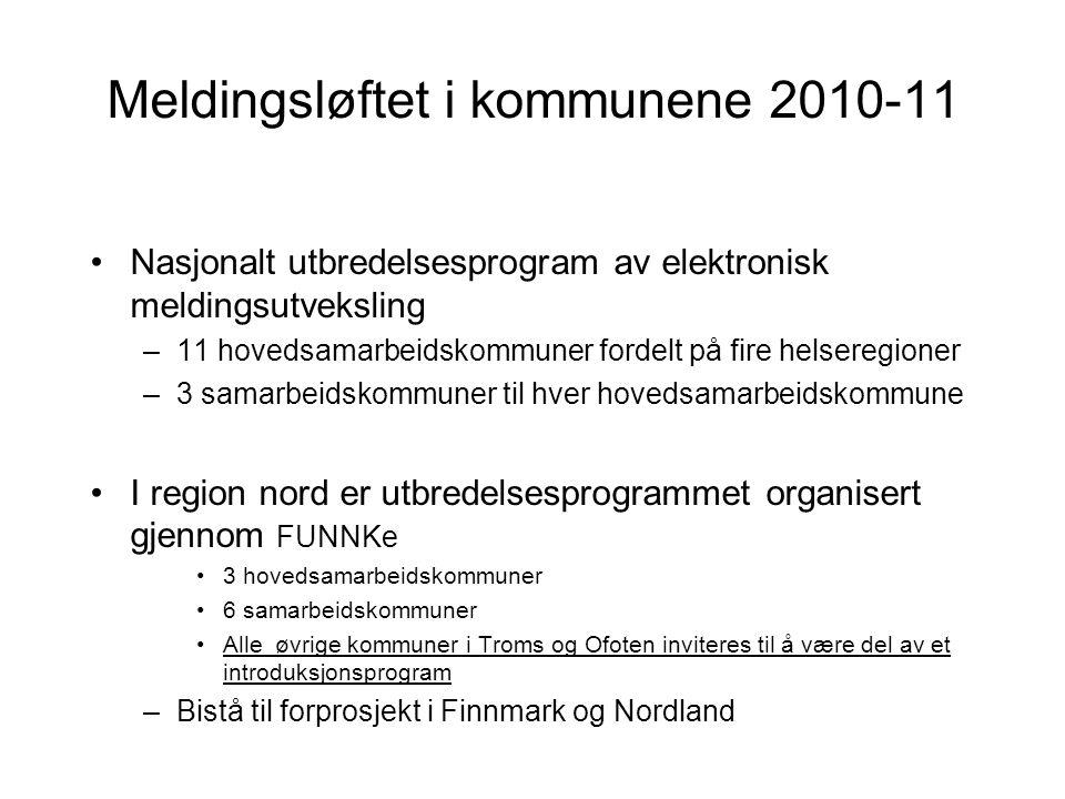 Meldingsløftet i kommunene 2010-11 •Nasjonalt utbredelsesprogram av elektronisk meldingsutveksling –11 hovedsamarbeidskommuner fordelt på fire helsere