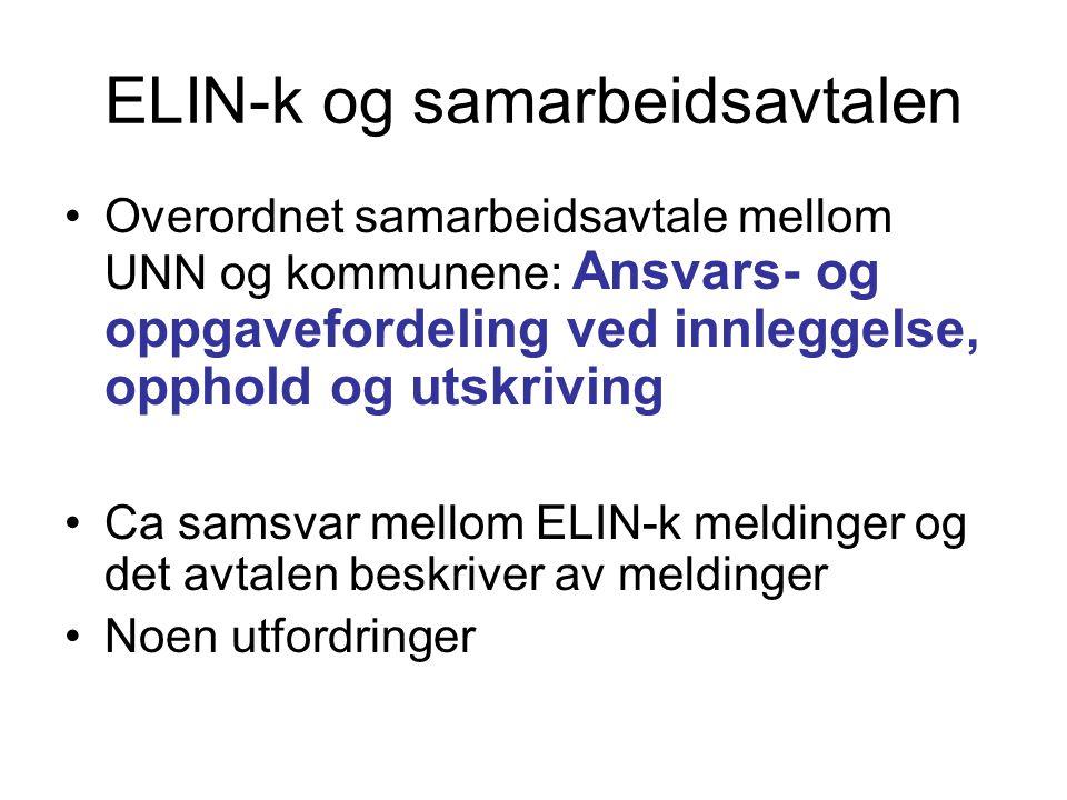 ELIN-k fase 2 •Meldingstyper Tromsø kommune skal sende til UNN: •PLO (fag) meldinger: –Innleggelsesrapport •Dialogmeldinger : »forespørsel »svar på forespørsel »avviksmelding