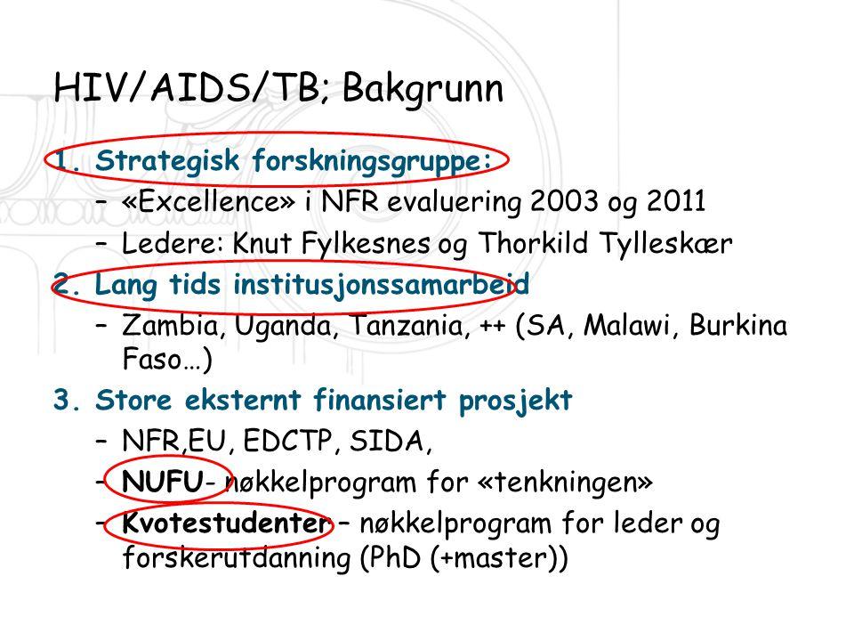 HIV/AIDS/TB; Bakgrunn 1.Strategisk forskningsgruppe: –«Excellence» i NFR evaluering 2003 og 2011 –Ledere: Knut Fylkesnes og Thorkild Tylleskær 2.Lang