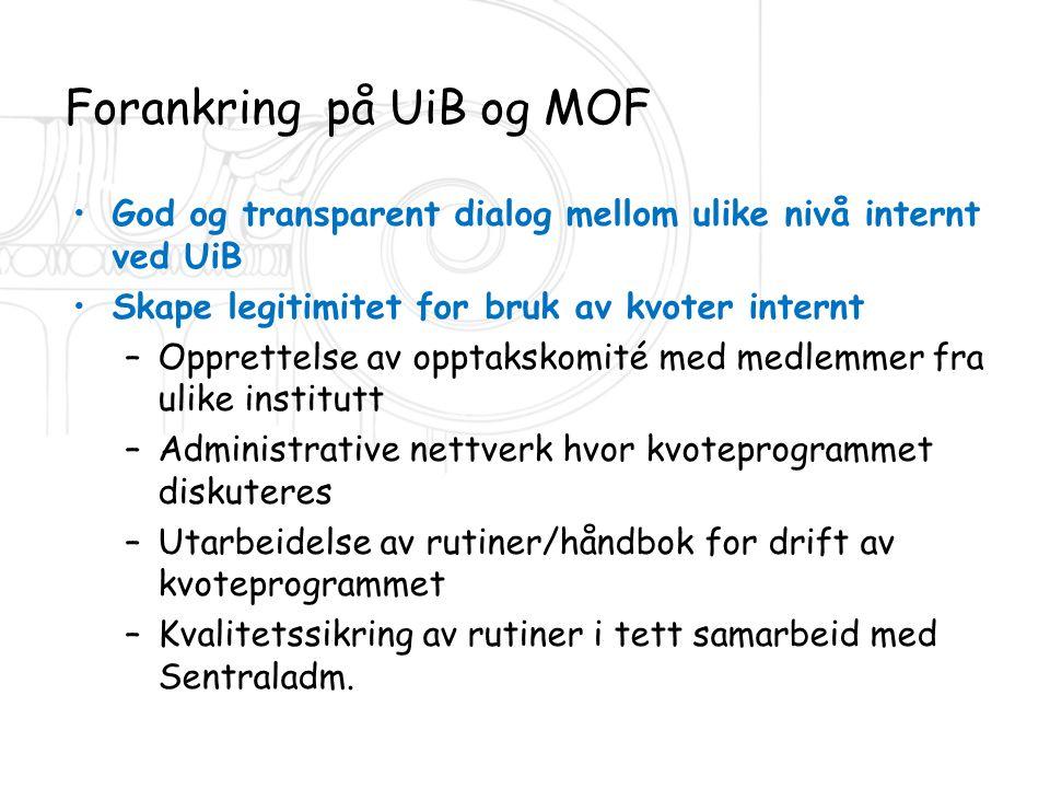 Forankring på UiB og MOF •God og transparent dialog mellom ulike nivå internt ved UiB •Skape legitimitet for bruk av kvoter internt –Opprettelse av op