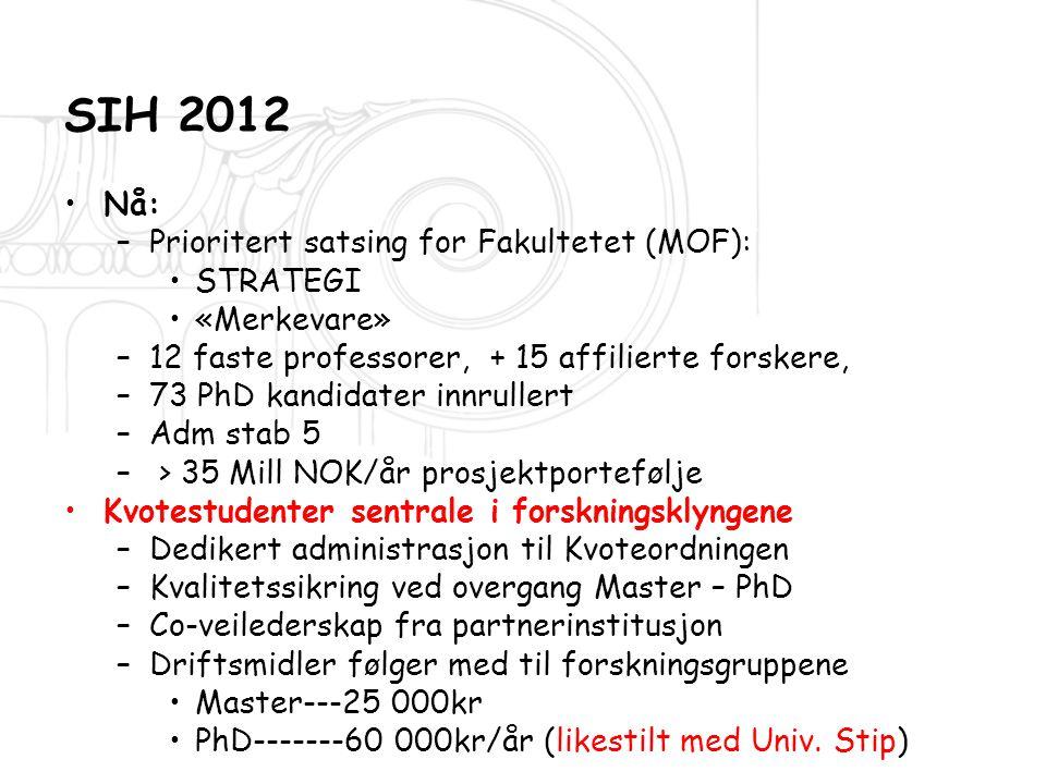 SIH 2012 •N•Nå: –P–Prioritert satsing for Fakultetet (MOF): •S•STRATEGI •«•«Merkevare» –1–12 faste professorer, + 15 affilierte forskere, –7–73 PhD ka