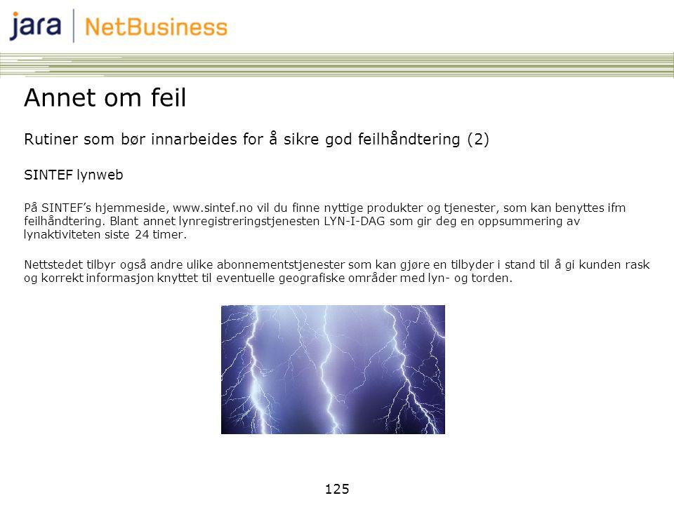 125 Annet om feil Rutiner som bør innarbeides for å sikre god feilhåndtering (2) SINTEF lynweb På SINTEF's hjemmeside, www.sintef.no vil du finne nytt