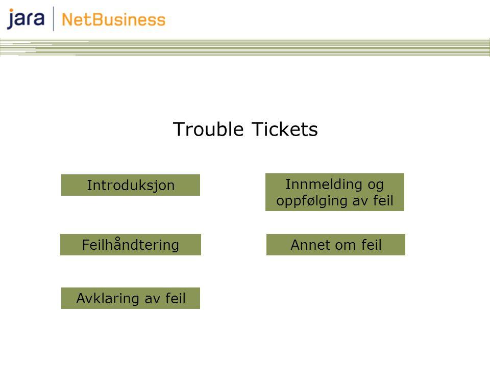Trouble Tickets Annet om feil Avklaring av feil Innmelding og oppfølging av feil Introduksjon Feilhåndtering