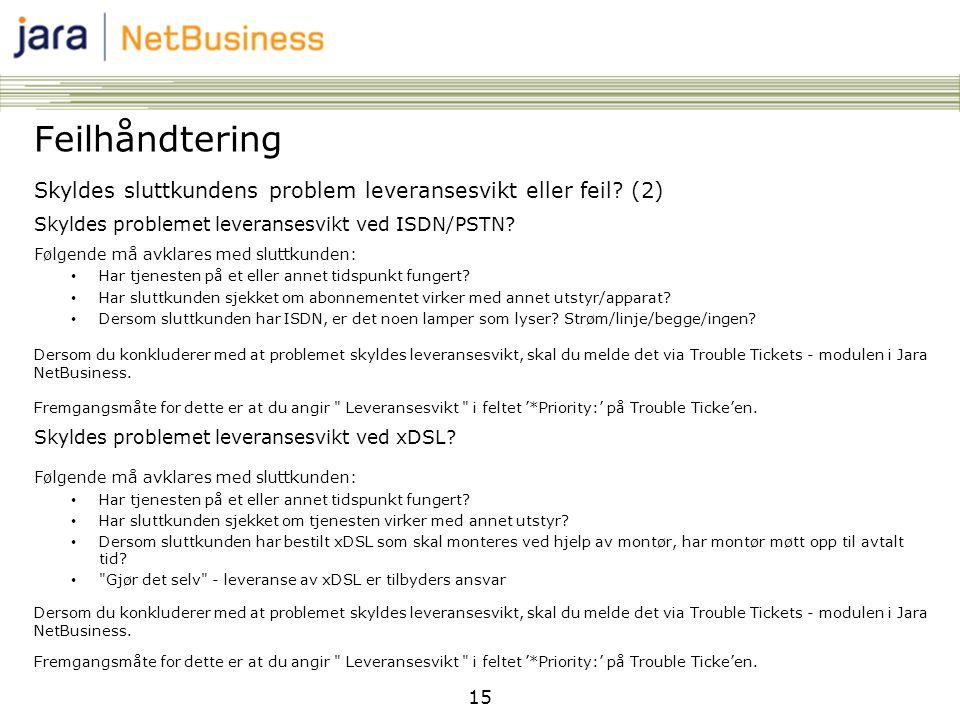 15 Feilhåndtering Skyldes sluttkundens problem leveransesvikt eller feil? (2) Skyldes problemet leveransesvikt ved ISDN/PSTN? Følgende må avklares med