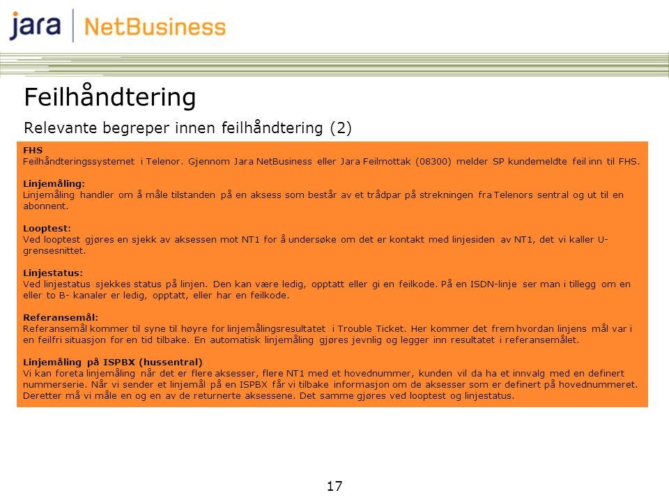 17 Feilhåndtering Relevante begreper innen feilhåndtering (2) FHS Feilhåndteringssystemet i Telenor. Gjennom Jara NetBusiness eller Jara Feilmottak (0