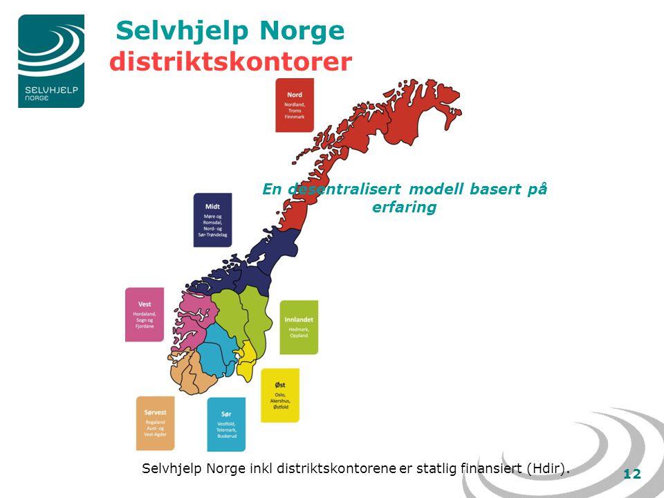 12 Selvhjelp Norge distriktskontorer Selvhjelp Norge inkl distriktskontorene er statlig finansiert (Hdir).