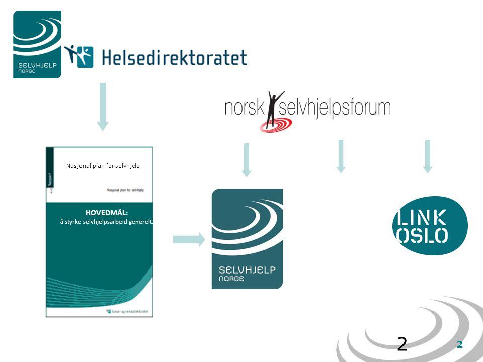 2 2 Nasjonal plan for selvhjelp HOVEDMÅL: å styrke selvhjelpsarbeid generelt.