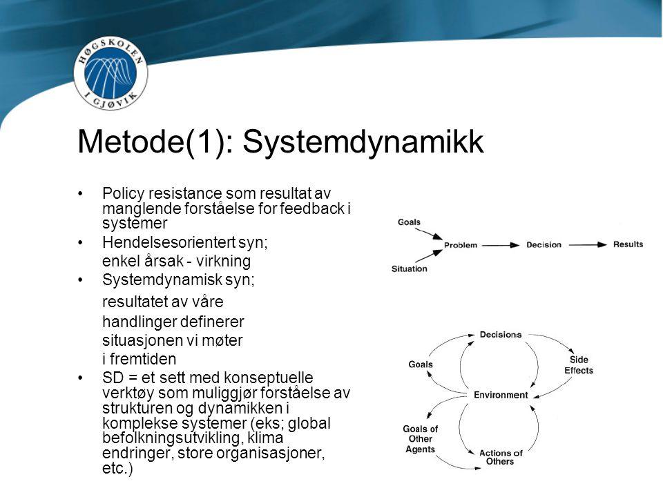 Metode(1): Systemdynamikk •Policy resistance som resultat av manglende forståelse for feedback i systemer •Hendelsesorientert syn; enkel årsak - virkn