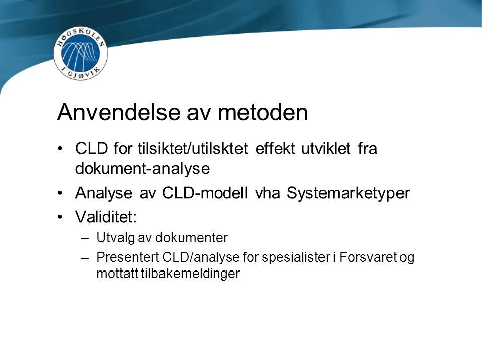 Anvendelse av metoden •CLD for tilsiktet/utilsktet effekt utviklet fra dokument-analyse •Analyse av CLD-modell vha Systemarketyper •Validitet: –Utvalg