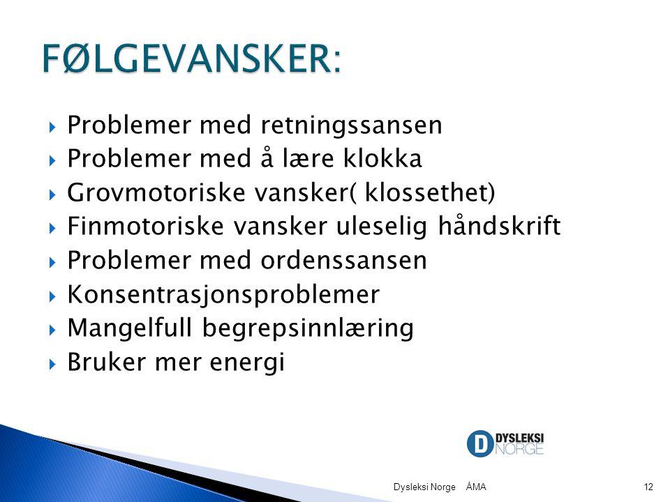 Problemer med retningssansen  Problemer med å lære klokka  Grovmotoriske vansker( klossethet)  Finmotoriske vansker uleselig håndskrift  Problemer med ordenssansen  Konsentrasjonsproblemer  Mangelfull begrepsinnlæring  Bruker mer energi Dysleksi Norge ÅMA12