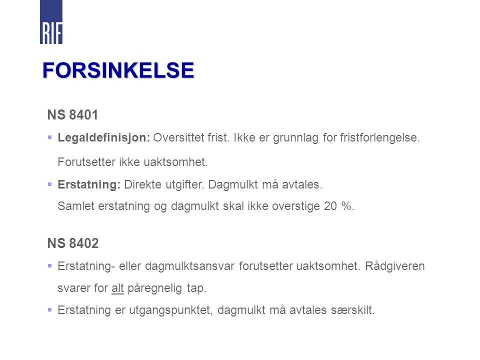 FORSINKELSE NS 8401  Legaldefinisjon: Oversittet frist.