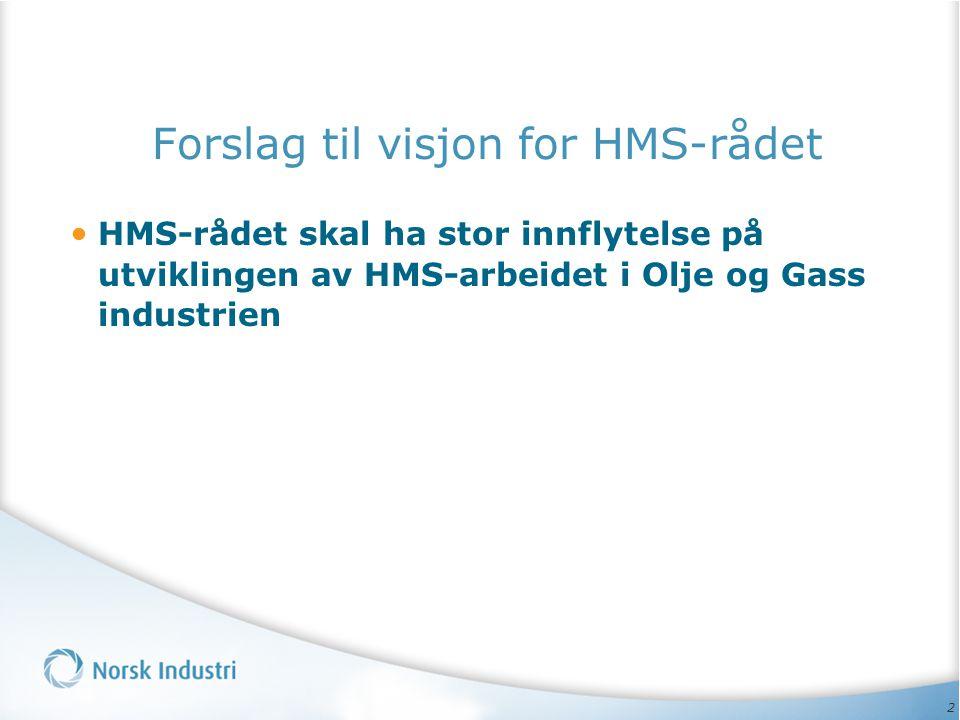 2 Forslag til visjon for HMS-rådet • HMS-rådet skal ha stor innflytelse på utviklingen av HMS-arbeidet i Olje og Gass industrien