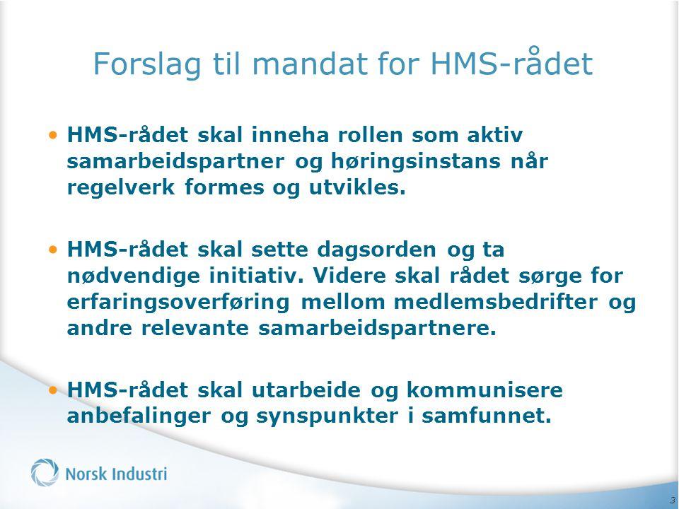 Forslag til mandat for HMS-rådet • HMS-rådet skal inneha rollen som aktiv samarbeidspartner og høringsinstans når regelverk formes og utvikles. • HMS-