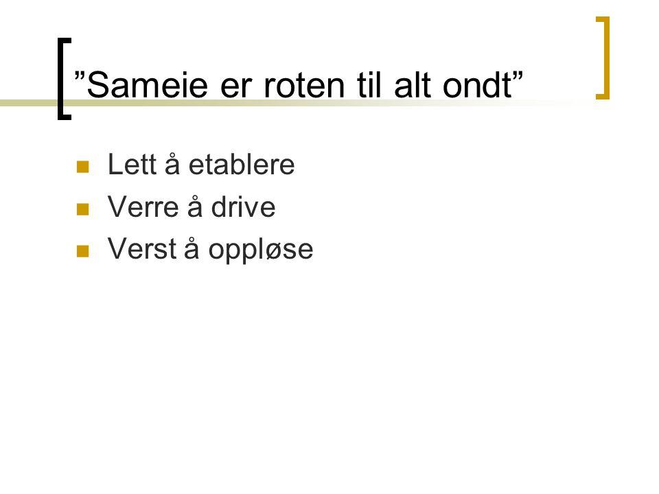 """""""Sameie er roten til alt ondt""""  Lett å etablere  Verre å drive  Verst å oppløse"""