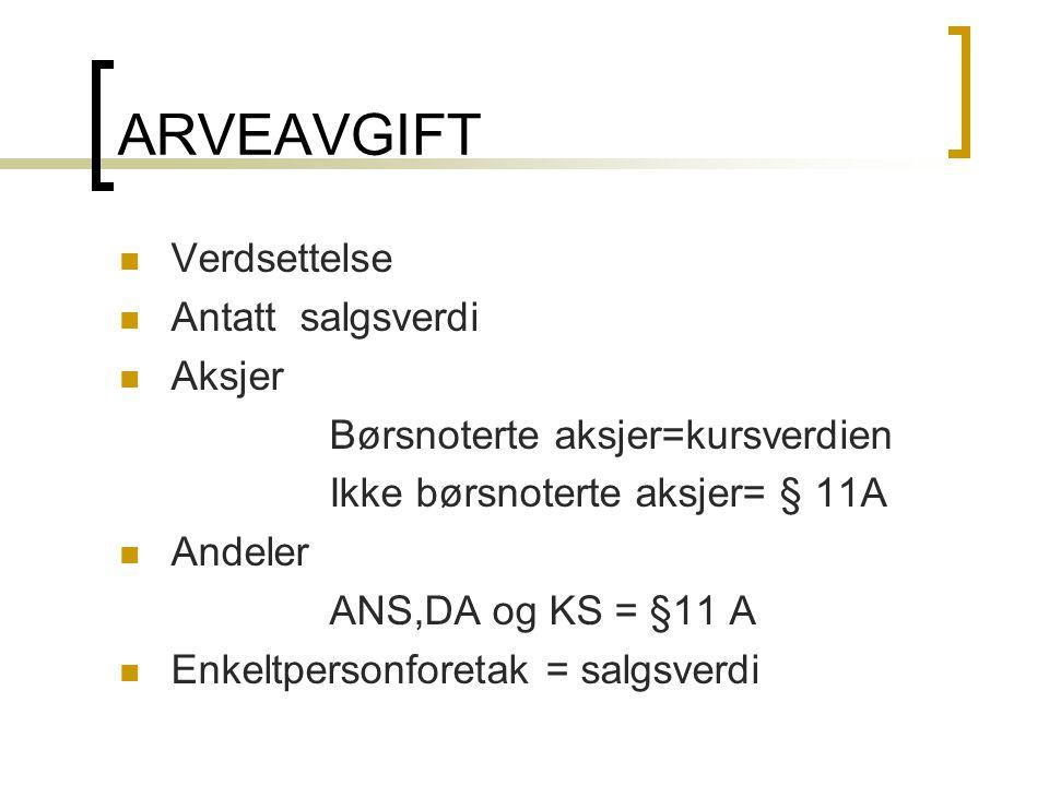 ARVEAVGIFT  Verdsettelse  Antatt salgsverdi  Aksjer Børsnoterte aksjer=kursverdien Ikke børsnoterte aksjer= § 11A  Andeler ANS,DA og KS = §11 A 