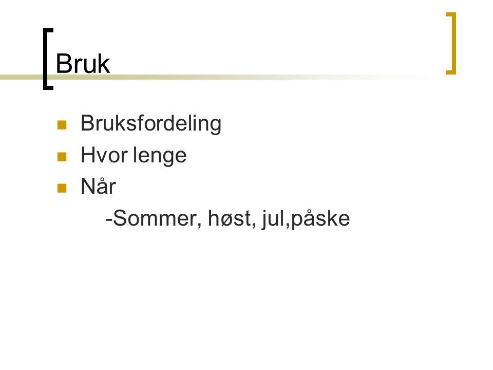 Bruk  Bruksfordeling  Hvor lenge  Når -Sommer, høst, jul,påske