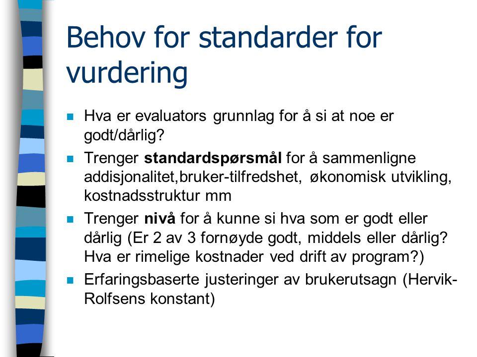 Behov for standarder for vurdering n Hva er evaluators grunnlag for å si at noe er godt/dårlig.