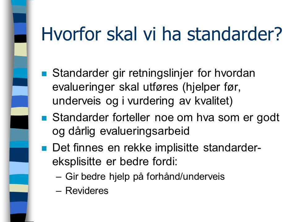 Hvorfor skal vi ha standarder.