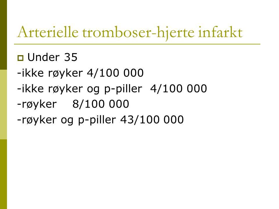 Arterielle tromboser-hjerte infarkt  Under 35 -ikke røyker 4/100 000 -ikke røyker og p-piller 4/100 000 -røyker 8/100 000 -røyker og p-piller 43/100