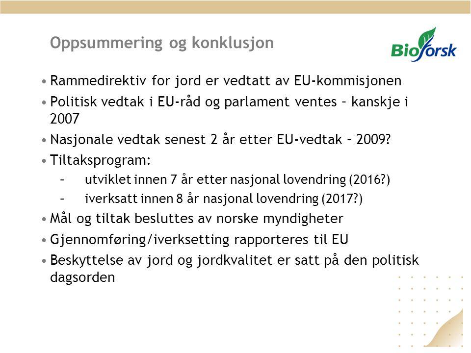 Oppsummering og konklusjon •Rammedirektiv for jord er vedtatt av EU-kommisjonen •Politisk vedtak i EU-råd og parlament ventes – kanskje i 2007 •Nasjonale vedtak senest 2 år etter EU-vedtak – 2009.